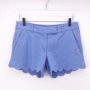 J Crew Linen/Cotton Scalloped Shorts